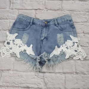 Jean Shorts Distressed Destroyed Lace Sides